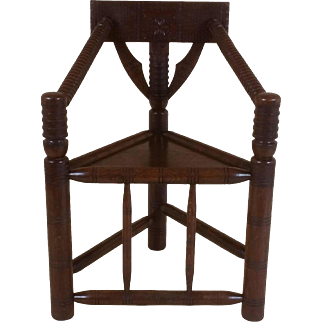 """Victorian Oak """"Turners"""" Corner Armchair with Carved Decoration"""