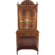 Early 19th C. French Empire Mahogany Display Cabinet on Stand