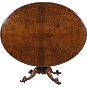 Early Victorian Figured Walnut Oval Tilt Top Centre Table
