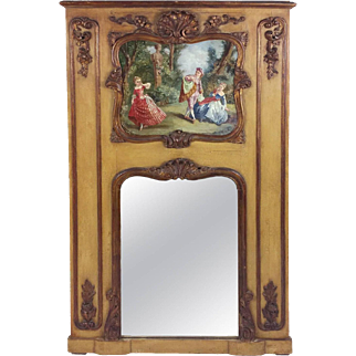 19th C. French Trumeau Mirror with Carved and Painted Decoration