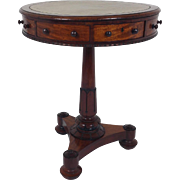 Late Regency Small Mahogany Drum Table with Leather Top