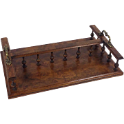 19th C. Figured Walnut Book Stand with Twin Brass Handles