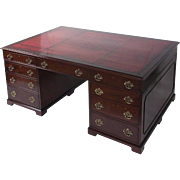 Large Victorian Mahogany Partners Desk with Original Leather Top