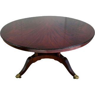 Regency Style Flame Mahogany Circular Dining Table