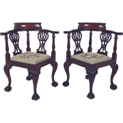 Pair of Late 19th c. Chippendale Design Carved Mahogany Corner Chairs