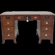 Late Victorian Satinwood Breakfront Kneehole Writing Desk