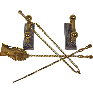 Set of Victorian Brass and Steel Fire Dogs with Irons