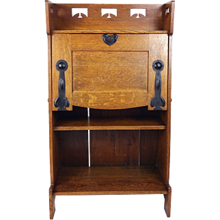 Late 19th C. Arts and Crafts Oak Bureau Attributed to Liberty's