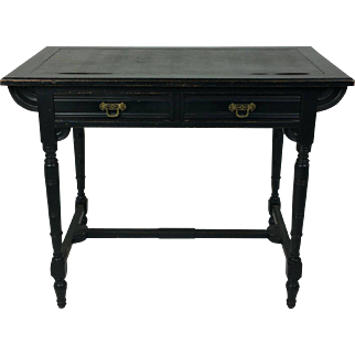 19th C. Art and Crafts Aesthetic Movement Ebonized Mahogany Writing Table