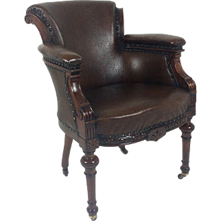 Mid Victorian Carved Mahogany Leather Upholstered Arm Chair