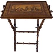 Fine 19th C. Italian Marquetry Inlaid Olivewood Butlers Tray
