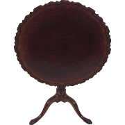 George III Mahogany Tilt Top Tripod Table with Carved Pie Crust Edge