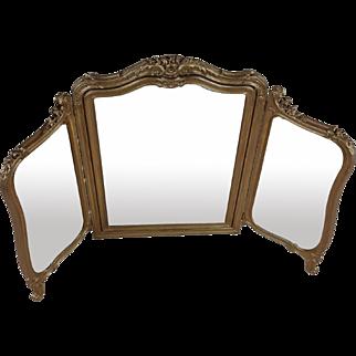 19th C. English Carved Gilt Wood Folding Triptych Mirror