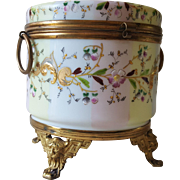 French Enameled Opaline Glass Jewelry Casket