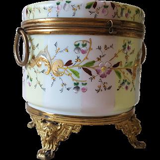 French Enameled Opaline Glass Jewelry Casket