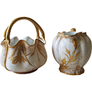 Limoges Hand-painted Gold and Ivory Sugar and Creamer