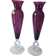 "Pair of Cambridge Amethyst Glass ""Keyhole"" Vases"