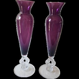 "Pair of Cambridge Amethyst Glass ""Keyhole"" Vases"