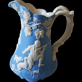 Rare Blue Parianware Relief Molded Hunt Scene Jug 1847
