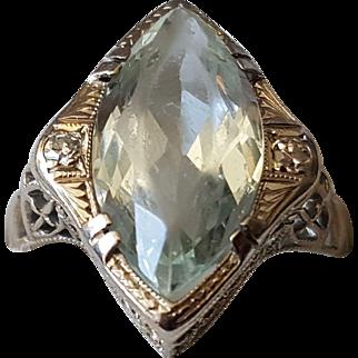 Antique Aquamarine 18K White Gold Ring