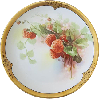 A. Lanternier Limoges Hand-painted Cabinet Plate