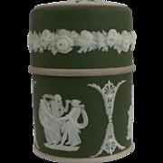 RARE Wedgwood Olive Green Jasperware Dip Cylindrical Match Box