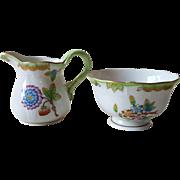 Herend Queen Victoria Miniature Creamer and Sugar Bowl