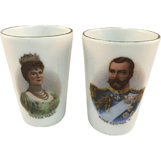 Rare Antique British Monarchy / Royal Family Pair of Egg Cups - King George V & Queen Mary c1910