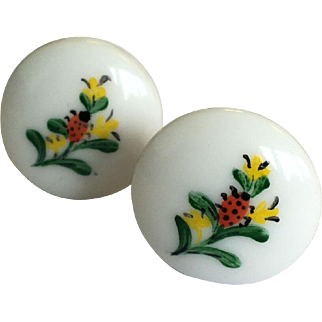 Unique 1950s Vintage Hand-painted Clip On Button Earrings with Yellow Flowers & Ladybirds / Ladybugs