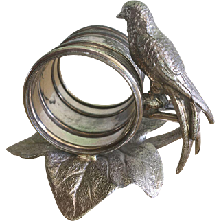 American Victorian Silverplate Figural Napkin Ring with Bird