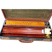 Old Chinese Bakelite Carved Mahjong Set with Original Case