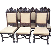 Carved Set of 6 Oak Winged Griffin Dining Chairs