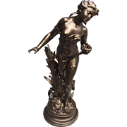 Large Moreau Signed Lady Statue Lamp