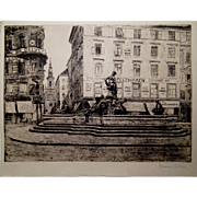 1900s etching by Marie Adler, Austria