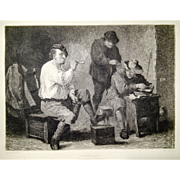 1880 etching by Wilhelm Rohr on painting by David Teniers