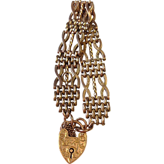 Art Nouveau 9k Gold Gate Bracelet with Padlock Clasp