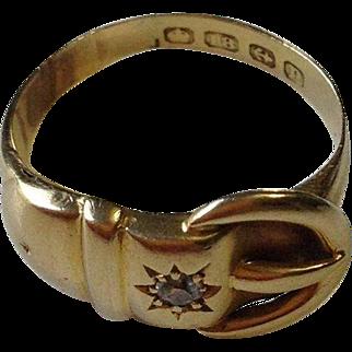 Art Nouveau 18k Gold Diamond Buckle Ring