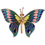 Art Nouveau 14k Gold Plique a Jour Enamel Butterfly Brooch Ruby Eyes