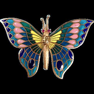 Art Nouveau 14k Gold Plique a Jour Enamel Butterfly Brooch Ruby Eyes