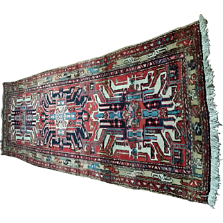 """3'4"""" by 8'0, Eagle Kazak Runner  Early 20th Century"""