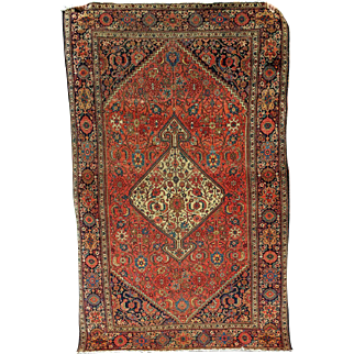 """77"""" by 48"""",  Antique Persian Sarouk Faraghan 1880's"""
