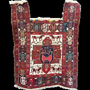 "Tribal Persian Silk and Wool  Shahsavan  Sumac Horse Cover 38"" by 49"""