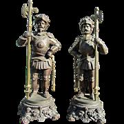 Pair of Victorian Spelter Warrior Statues