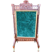 Victorian walnut Figural Fire Screen w Green Man Face