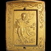 Antique cast iron Summer Cover w Orientalist Figure