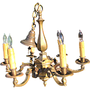 Large Antique six arm Bronze Chandelier