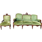 Victorian Renaissance Revival walnut inlaid 2 pc Parlor Set