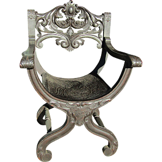 Victorian Quartersawn Oak Griffin Seat Arm Chair