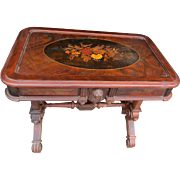 Renaissance Revival Walnut Inlaid Parlor Table