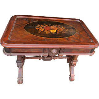 Renaissance Revival Walnut Inlaid Parlor Table